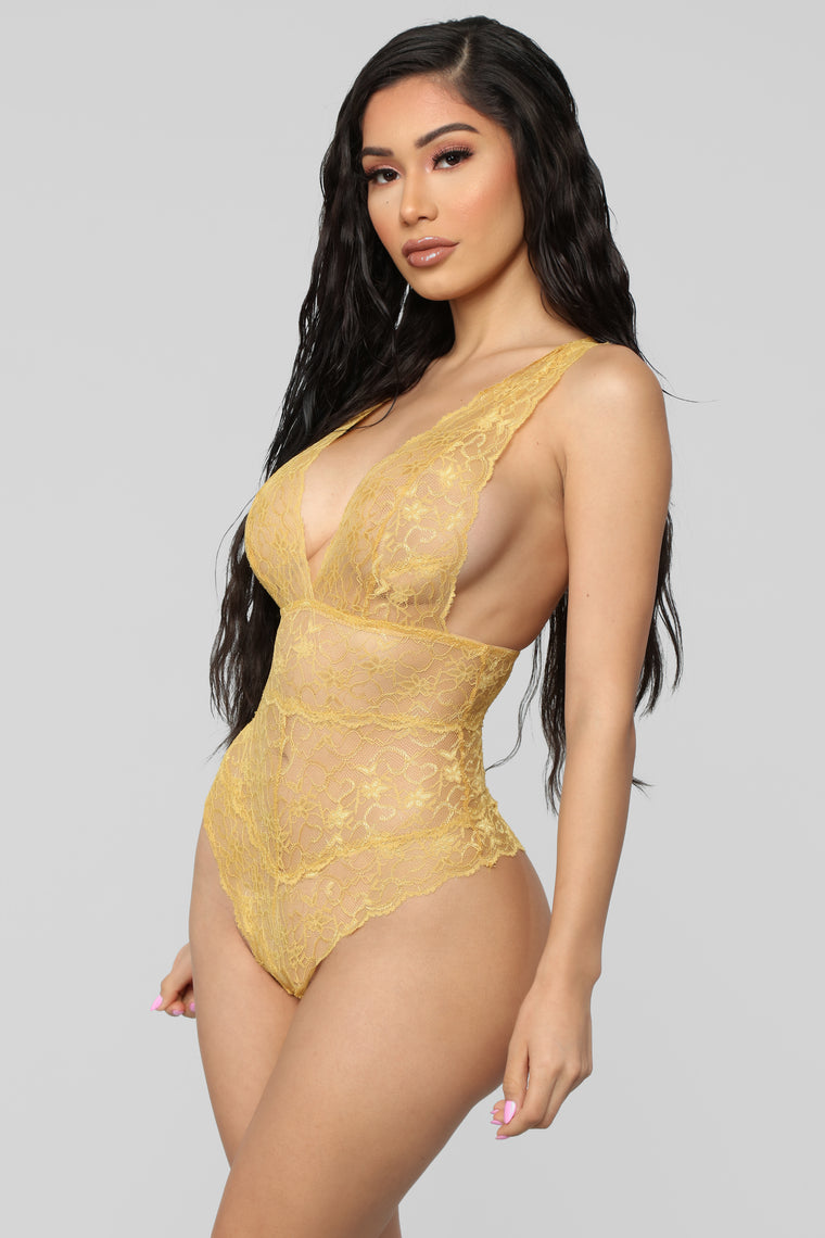 Send My Love Lace Teddy - Mustard