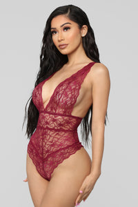Send My Love Lace Teddy - Plum