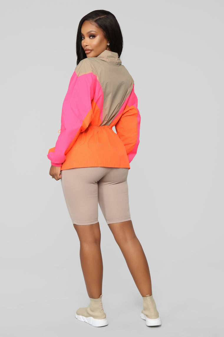 I'm Sprung Windbreaker Jacket - Orange/Combo