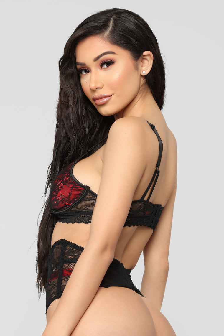 After Dinner Lace 3 Piece Set - Black/Red