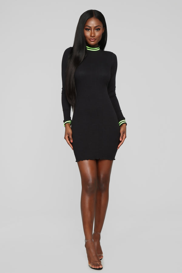 f38eed27789249 Active Attraction Ribbed Mini Dress - Black Neon Green