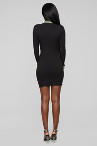 Active Attraction Ribbed Mini Dress - Black/Neon Green