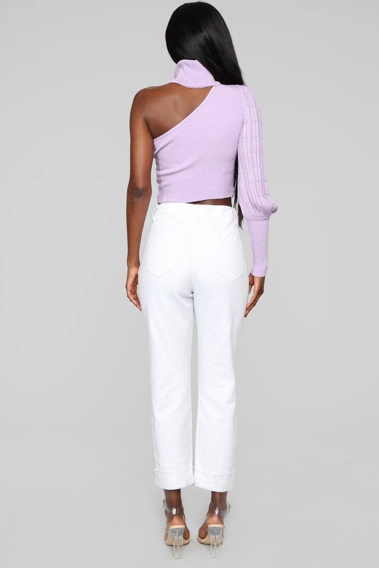 Turtle Neck One Shoulder Top - Lavender