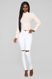 Belle Mock Neck Top - Pink