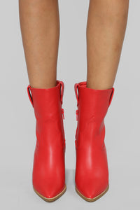 Bringing The Heat Booties - Red