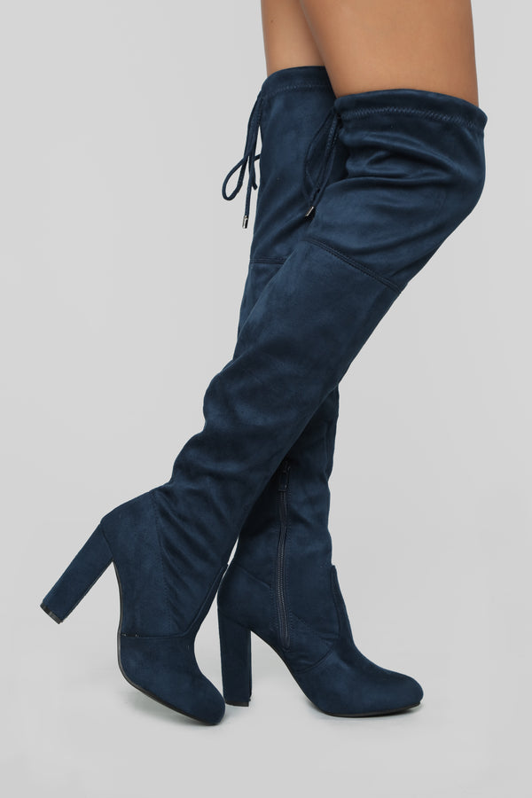 Strong Feelings Heeled Boots - Navy