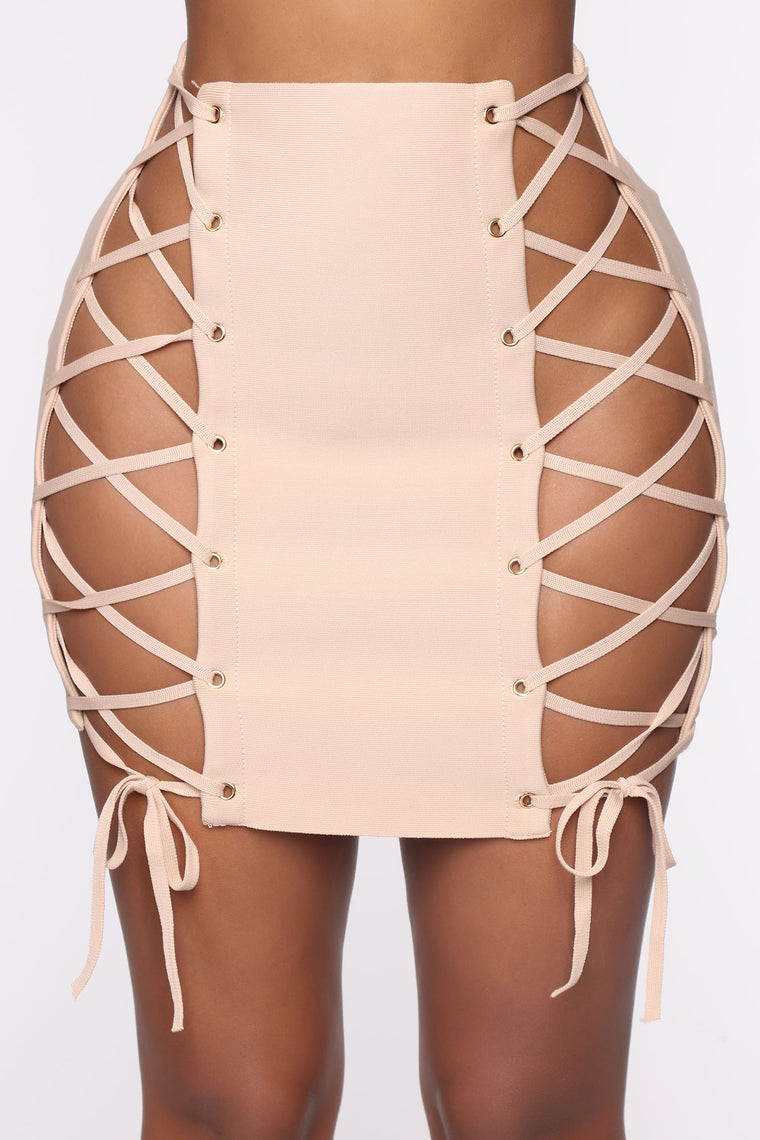 Dare I Show Lace Up Mini Skirt - Taupe