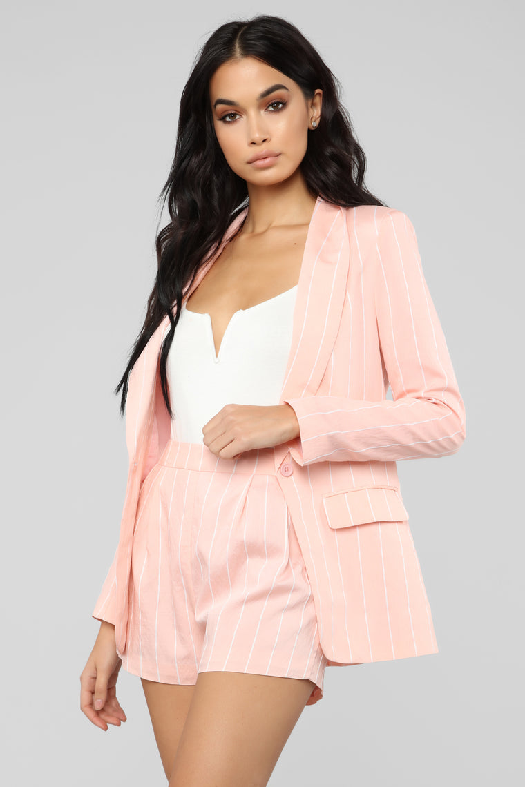 Straight Down To Business Stripe Set - Pink/White
