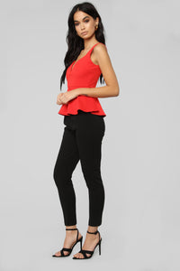 Impress Me Peplum Top - Red