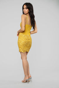 My Beautiful Life Crochet Mini Dress - Mustard