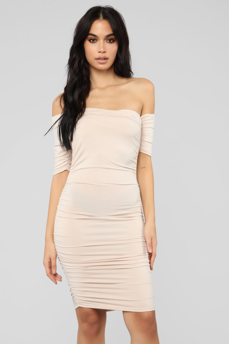 Doll Face Ruched Dress   Nude by Fashion Nova