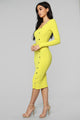 Keep Loving You Ribbed Mini Dress - Yellow