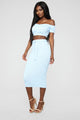 Sweater Feels Skirt Set - Powder Blue