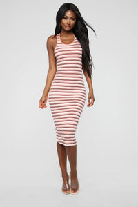 Fan Of Stripes Ribbed Dress - Pink/White Angle 1