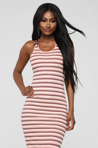Fan Of Stripes Ribbed Dress - Pink/White Angle 2