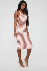 Fan Of Stripes Ribbed Dress - Pink/White Angle 3