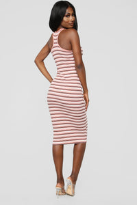 Fan Of Stripes Ribbed Dress - Pink/White Angle 4