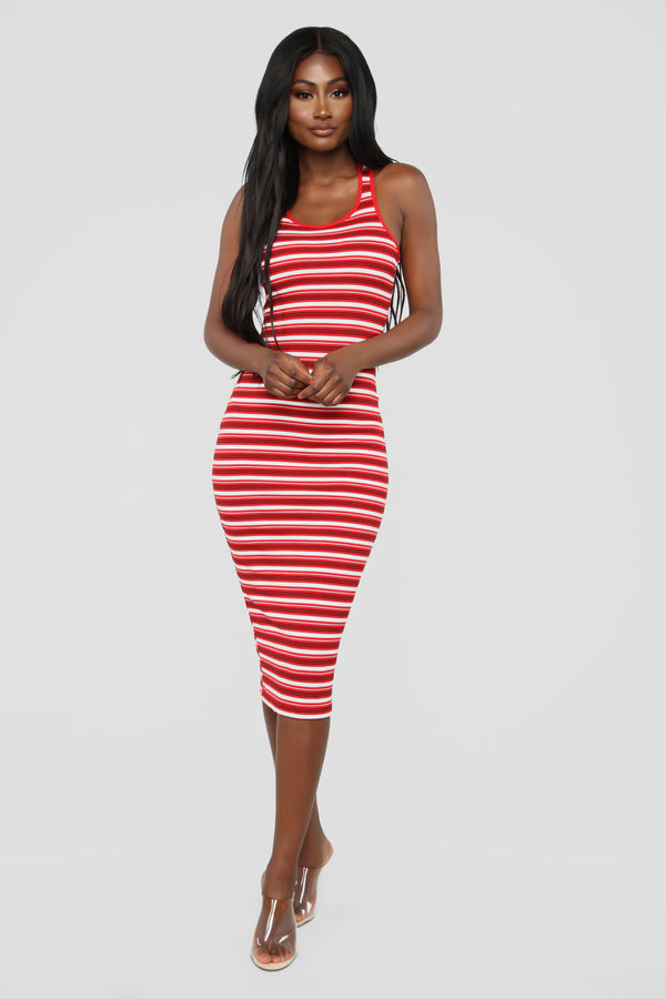 d7b60c0250c Fan Of Stripes Ribbed Dress - Red White