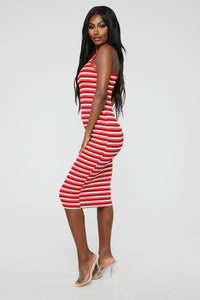 Fan Of Stripes Ribbed Dress - Red/White