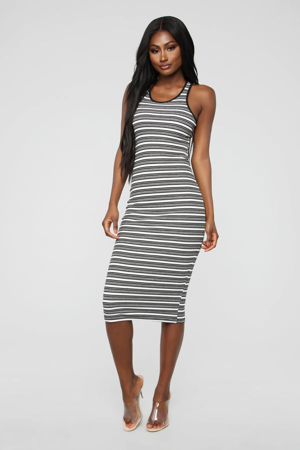 a7709aaddd7 Fan Of Stripes Ribbed Dress - Black White