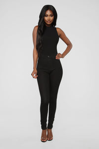 Covey High Neck Bodysuit - Black Angle 3