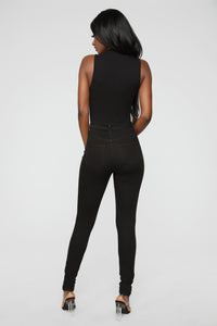 Covey High Neck Bodysuit - Black Angle 6