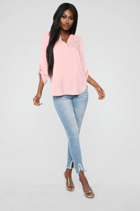 Essential V Neck Shirt - Mauve