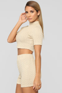 Sweater Feels Short Set - Light Taupe