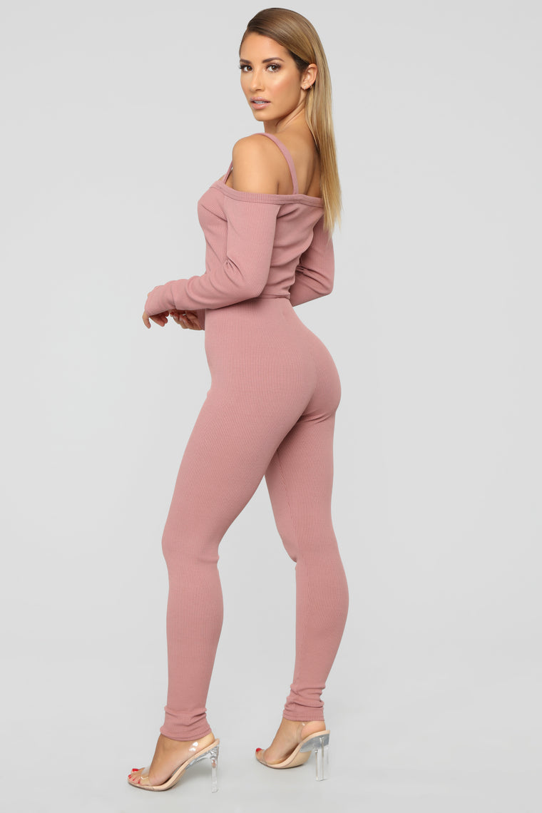 Be Better Ribbed Pant Set - Mauve