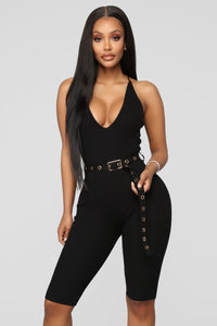 Show Me How To Love Biker Romper - Black