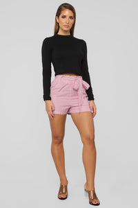 No Loose Ends Tie Waist Shorts - Red/White