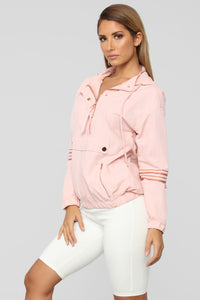 First In Line Windbreaker Jacket - Pink