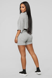 Play Date Ribbed Short Set - Heather Grey