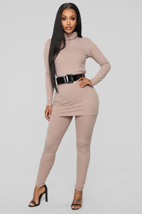Just Forget It Belted Ribbed Set - Taupe
