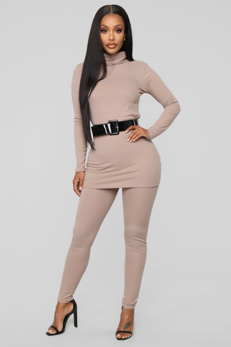 Just Forget It Belted Ribbed Set   Taupe by Fashion Nova