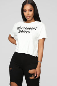 Independent Woman Top - White