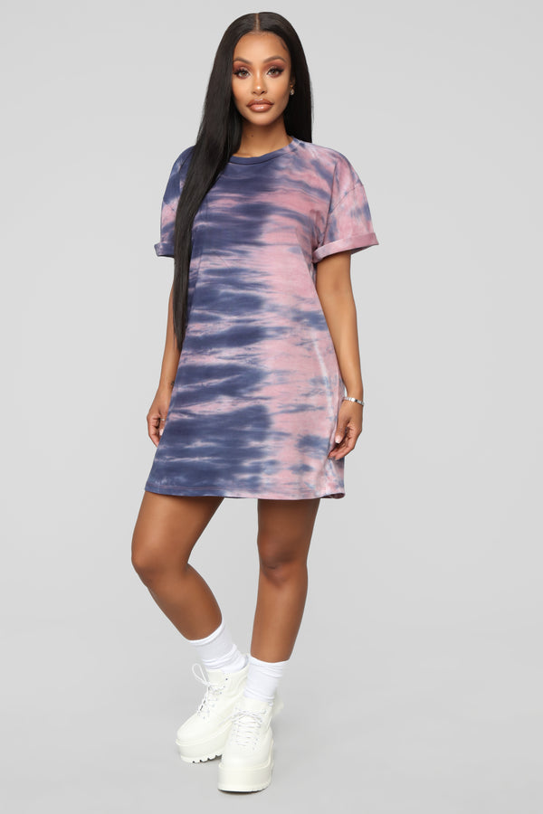 3f1be778eb Missed A Spot Tie Dye Dress - Blue Pink