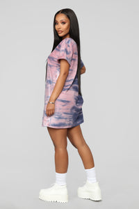 Missed A Spot Tie Dye Dress - Blue/Pink