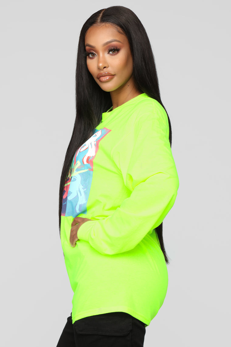 I Could Fall In Love LS Top - Neon Green