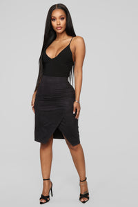 You've Persuede Me Faux Suede Skirt - Black