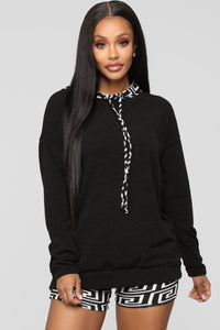 Designed To Chill Hoodie Set - Black/White
