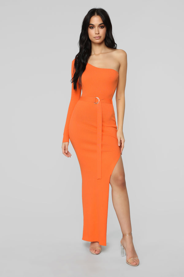 98b06563b28 Above The Basics One Shoulder Sweater Dress - Neon Orange