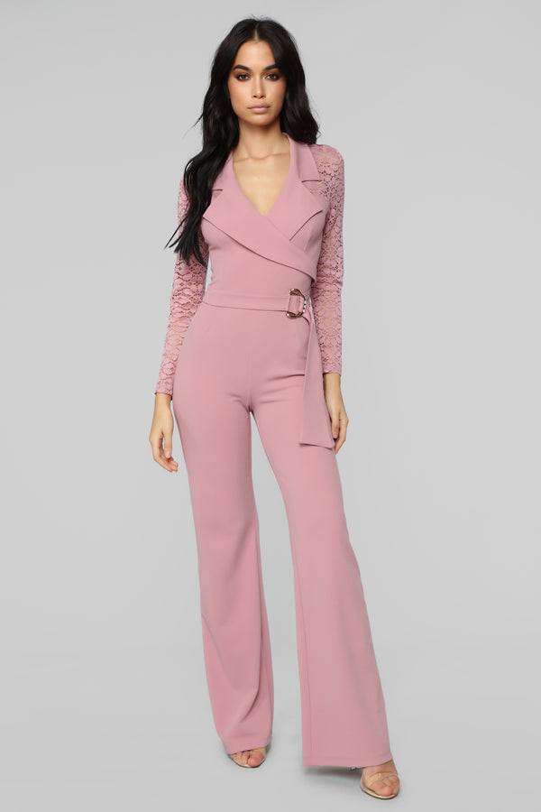 79dc1ed4c16 Pay Up Lace Jumpsuit - Mauve
