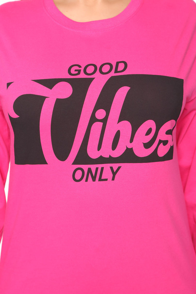 Pass Me The Good Vibes Long Sleeve Top - Fuchsia