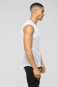Mesh With This Tank Top - White