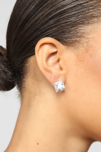 Nothing But Square Earrings - Silver