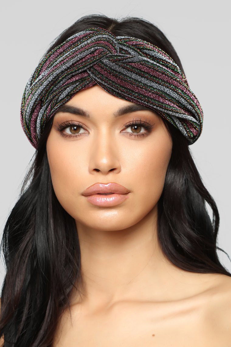 Keep My Secrets Head Wrap - Silver Multi
