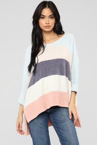 Straight To It Sweater - Light Blue/Peach