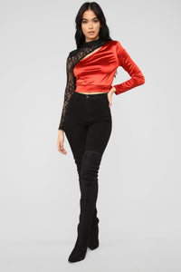 Beverly Satin Lace Top - Red