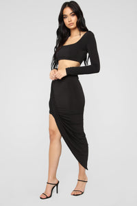 Kali Slinky Skirt Set - Black